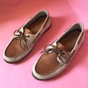 Gray/tan Sperry Top-Sider leather shoes